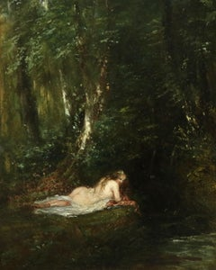 La Nymphe des Bois- 19th Century Oil, Nude Figure in Forest Landscape by P Huet