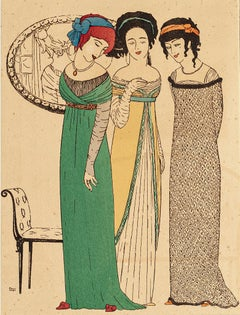 Three Models - Original Pochoir on Paper by Paul Iribe - 1908