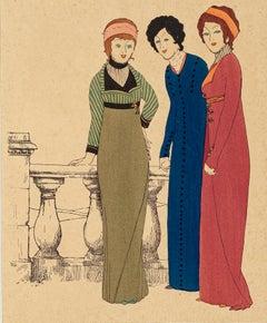 Three Models - Original Stencil by Paul Iribe - 1908