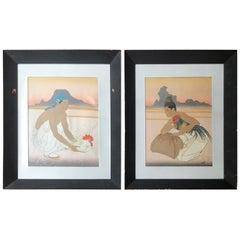 Paul Jacoulet, France. Le Deux Adversaires Woodcut in Color, 160/350