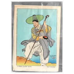 Paul Jacoulet Japanese Surimono Woodblock Print Le Bonze Errant, Coree 'Korea'
