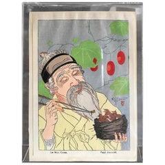 Paul Jacoulet Japanese Surimono Woodblock Print Le Nid, Coree The Nest, Korea
