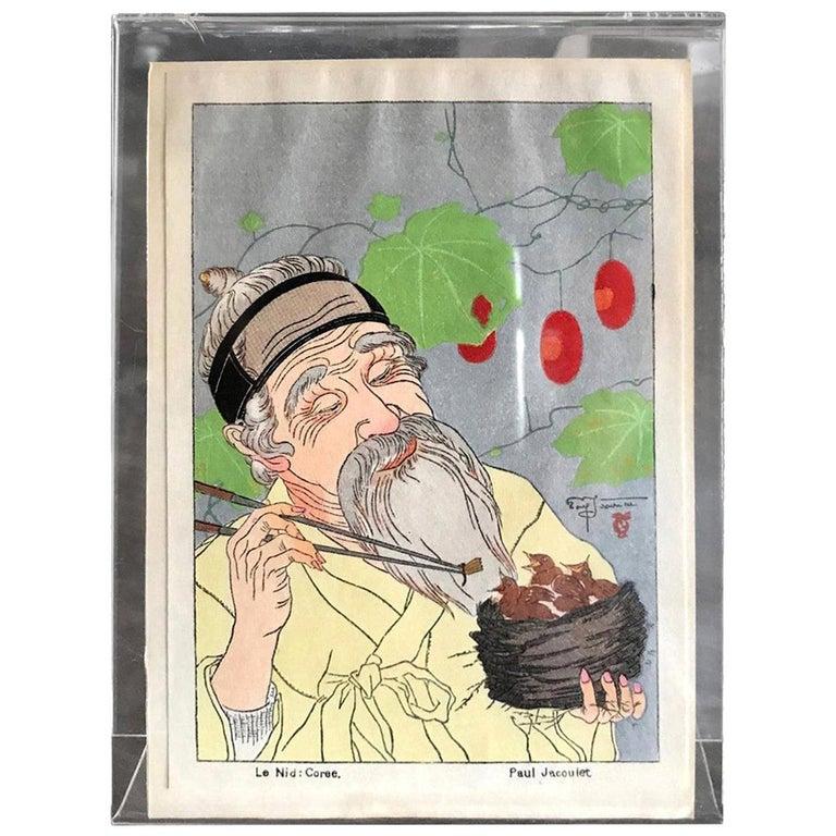 Paul Jacoulet Japanese Surimono Woodblock Print Le Nid, Coree The Nest, Korea For Sale