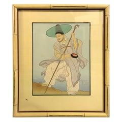 Paul Jacoulet Japanese Woodblock Print Le Bonze Errant, Corée, 1948