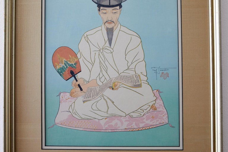 Fascinating artwork titled Le Vieux manusrits (old writings Seoul Korea) by Paul Jacoulet. (French-Japanese 1896-1960) finely crafted with lovely graduating background color blue to light green. Depicts a figure seated on a pink pillow wearing a