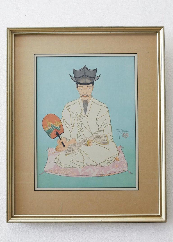 Paul Jacoulet Figurative Print - Le Vieux Manuscrits, Coree-Seoul