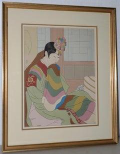 """Paul Jacoulet """"Le Marie, Seoul Corée"""" Woodblock Print c.1948"""