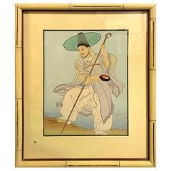 Paul Jacoulet Signed Japanese Woodblock Print Le Bonze Errant, Corée, 1948