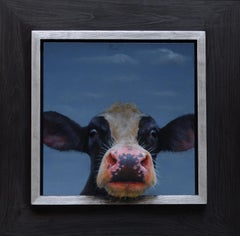 """Calf Portrait 403"" Contemporary Dutch Oil Painting of a Calf, Cow Portrait"