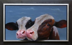 """Double Portrait"" Contemporary Dutch Oil Painting of Two Calves, Cow Portrait"