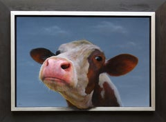 """Portrait 398"" Contemporary Dutch Oil Painting of a Calf, Cow Portrait"