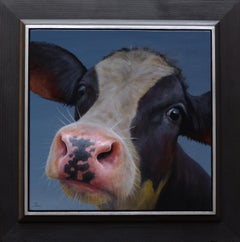 """Portrait 402"" Contemporary Dutch Oil Painting of a Calf, Cow Portrait"