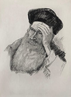 Judaica Jewish Etching Hasidic Rabbi, Gaon, Genius, Vintage Chassidic Art Print