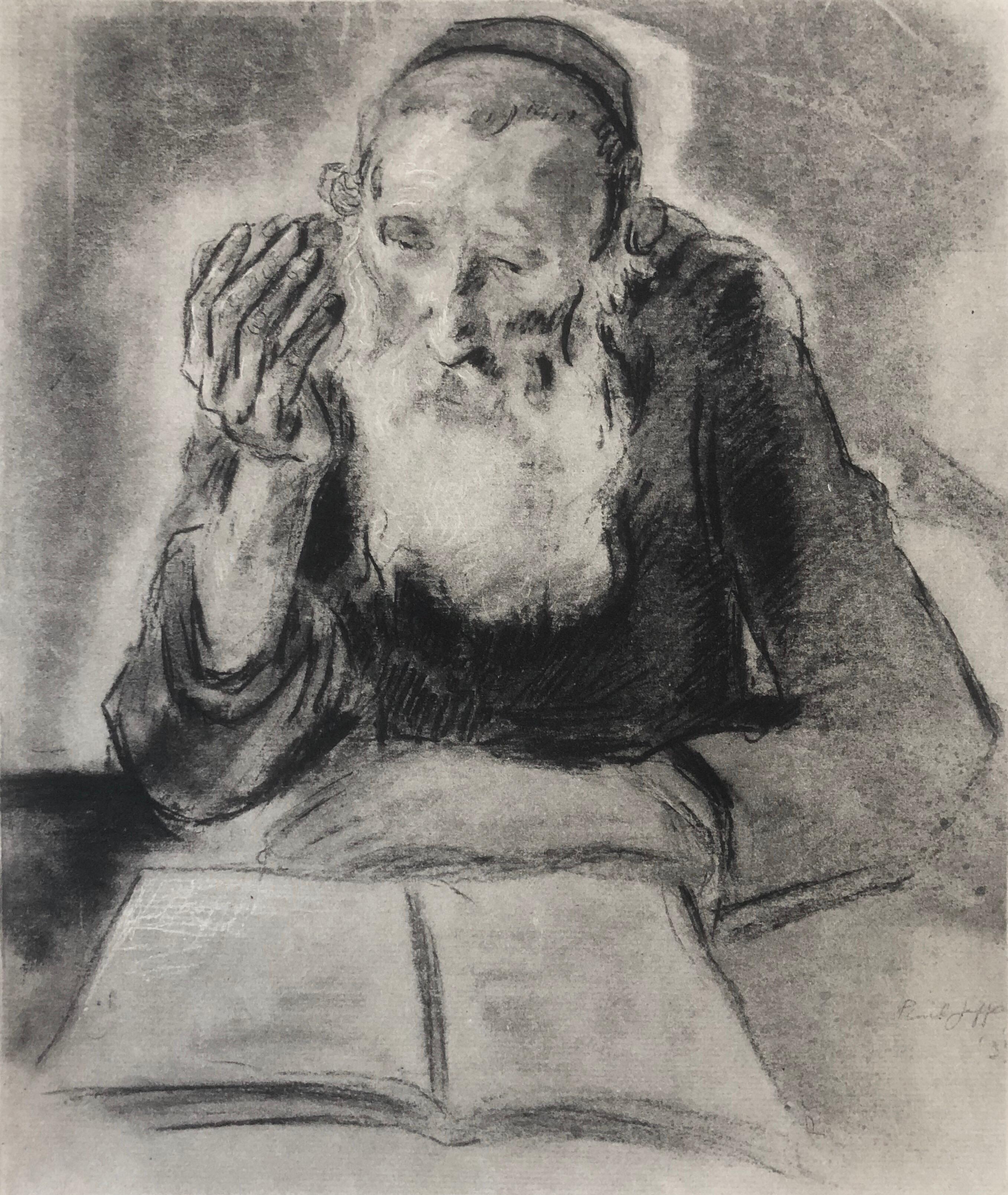 Judaica Jewish Shtetl Etching Hasidic Rabbi at Study Vintage Chassidic Print