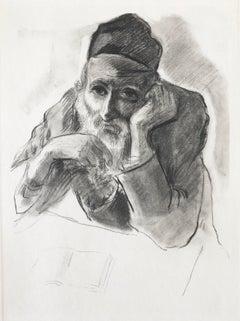 Judaica Jewish Shtetl Etching Hasidic Rabbi Meditation Vintage Chassidic Print