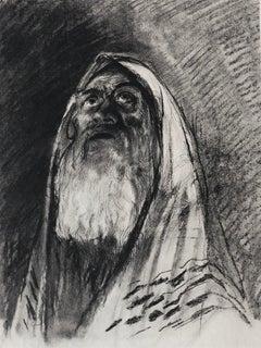 Judaica Jewish Shtetl Etching Hasidic Rabbi, Meditation Vintage Chassidic Print