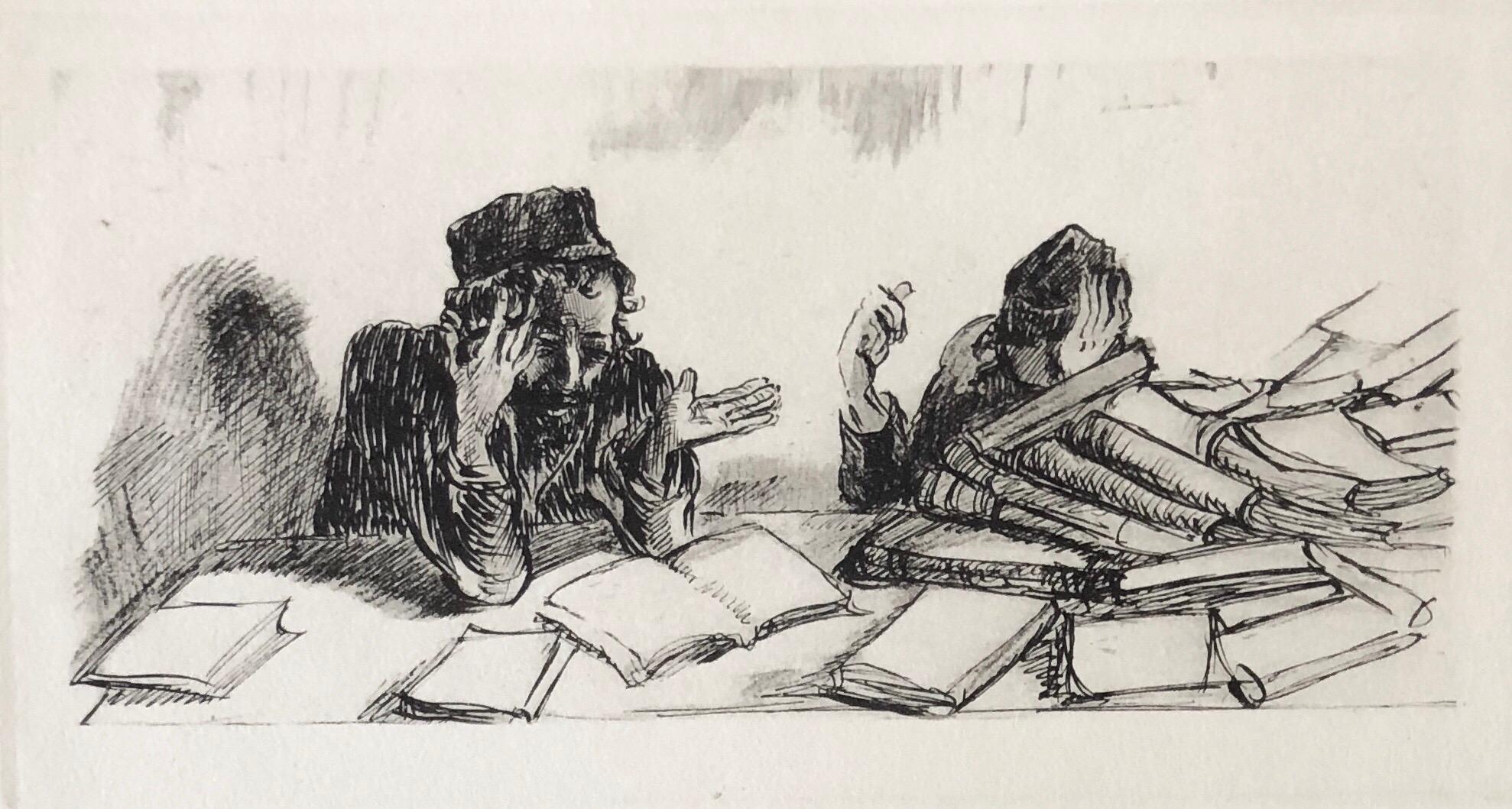 Judaica Jewish Shtetl Etching Yeshiva Talmudic Study Vintage Chassidic Art Print