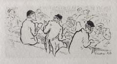 Talmud Study, French Judaica Etching Jewish School Yeshiva Students Print