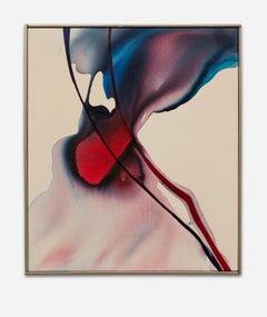 """Phenomena Center Burn"", Abstract, Flowing, Reds, Blues, Organic, Acrylic Canvas"