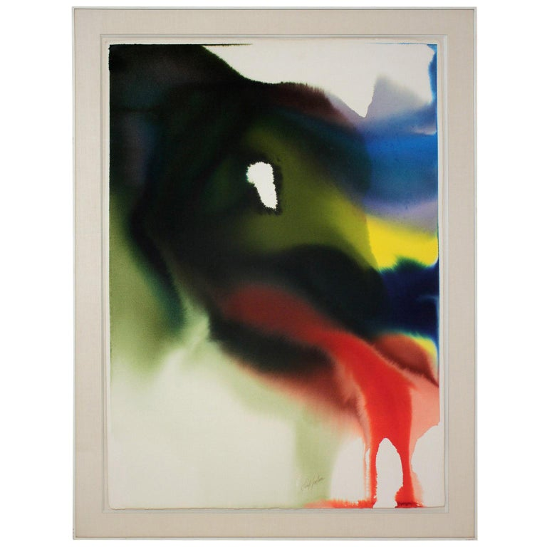 """Paul Jenkins """"Phenomena Bordering Orion"""" Watercolor on Paper, 1981 For Sale"""