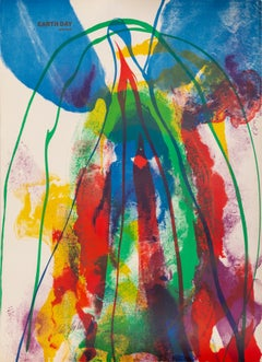 Earth Day, Colorful Abstract Lithograph by Paul Jenkins 1971