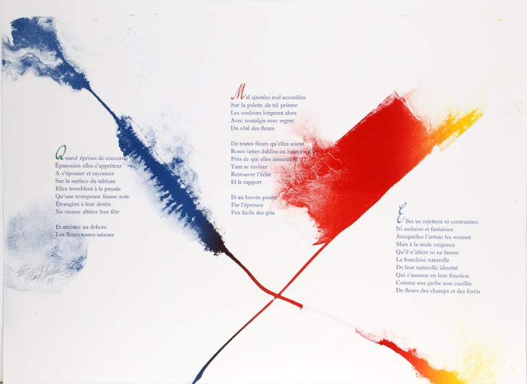 Artist: Paul Jenkins, American (1923 - 2012) Title: Euphories de la Couleur Year: 1988 Medium: Illuminated Lithograph of Andre Verdet Poems, signed and numbered in pencil Edition: 57/60 Paper Size: 20.5 x 26.25 in. (52.07 x 66.675 cm)  Printed at