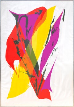 Large Colorful Abstract Silkscreen by Paul Jenkins 1969