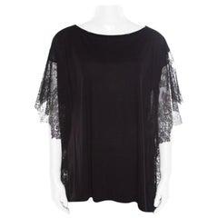 Paul & Joe Black Melange Knit Lace Paneled Kimono Sleeve Oversized Top S