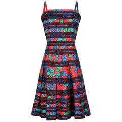 Paul Jonas 1960s Floral Print Dress with Black Stripes
