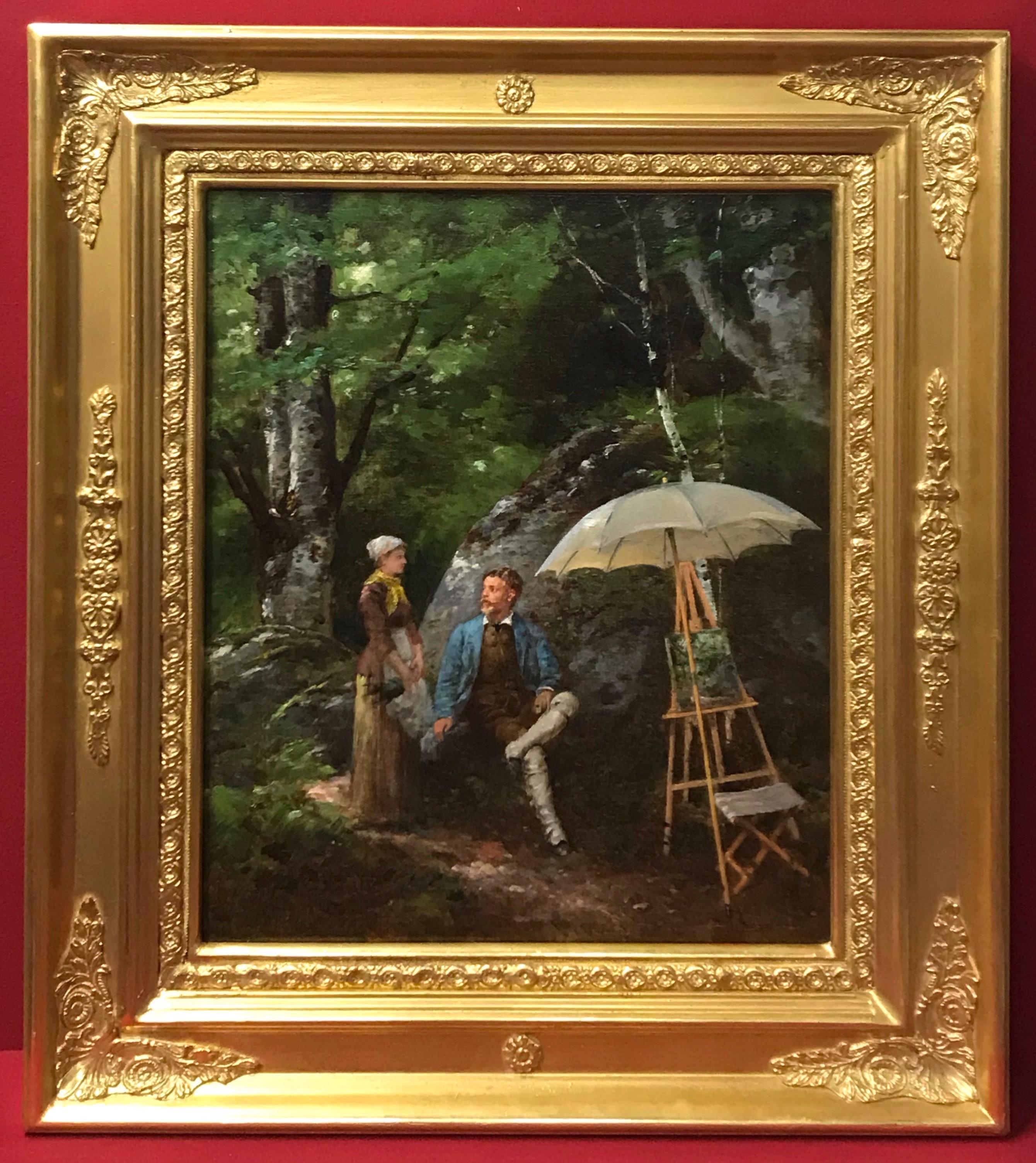 Paul Joseph LEYENDECKER (1842-nc)  Genre scene in the Garden