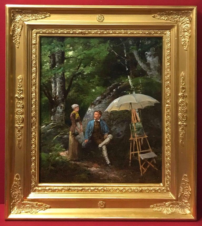 Paul Joseph Leyendecker Portrait Painting - Paul Joseph LEYENDECKER (1842-nc)  Genre scene in the Garden