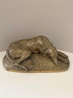French Animalier bronze of a resting Deerhound signed Gayrard 1848