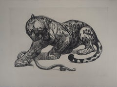 Jaguar Catching a Snake - Original etching