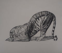 Tiger Eating - Original etching (Marcilhac #370)