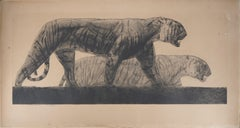 Two Walking Tigers - Original Handsigned etching