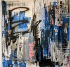 Abstract, Urban, Painting, Blue, Black, Bold Colors, Urban, Mixed Media