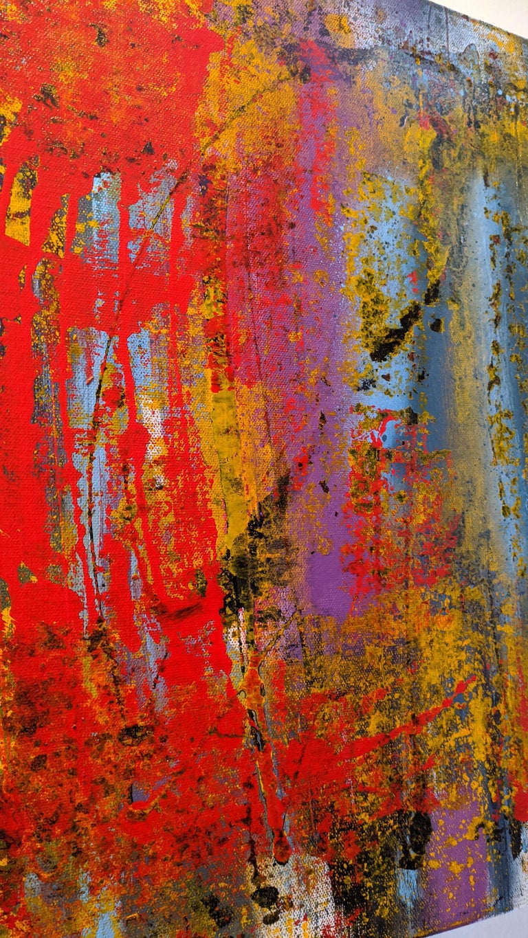 Abstract Painting, Gold, Red, Bold Colors, Mixed Media by Kaplan For Sale 1