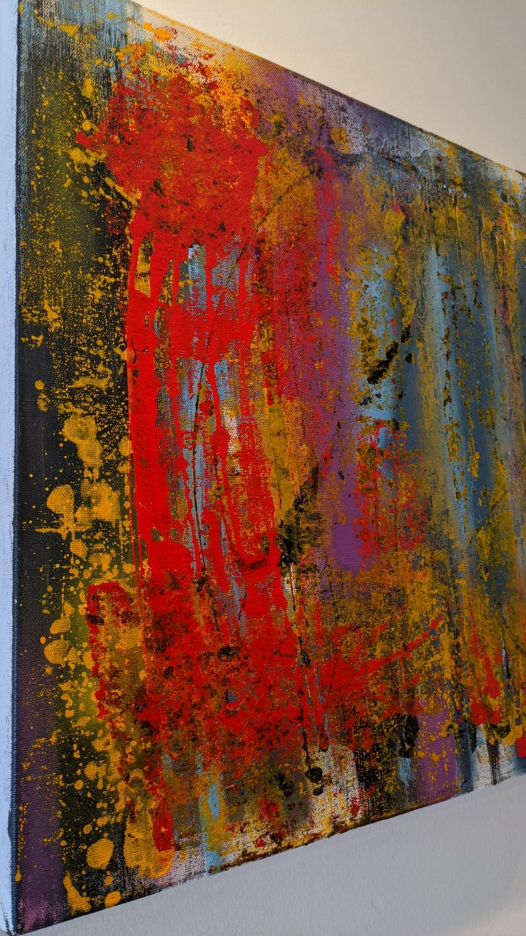 Abstract Painting, Gold, Red, Bold Colors, Mixed Media by Kaplan For Sale 2