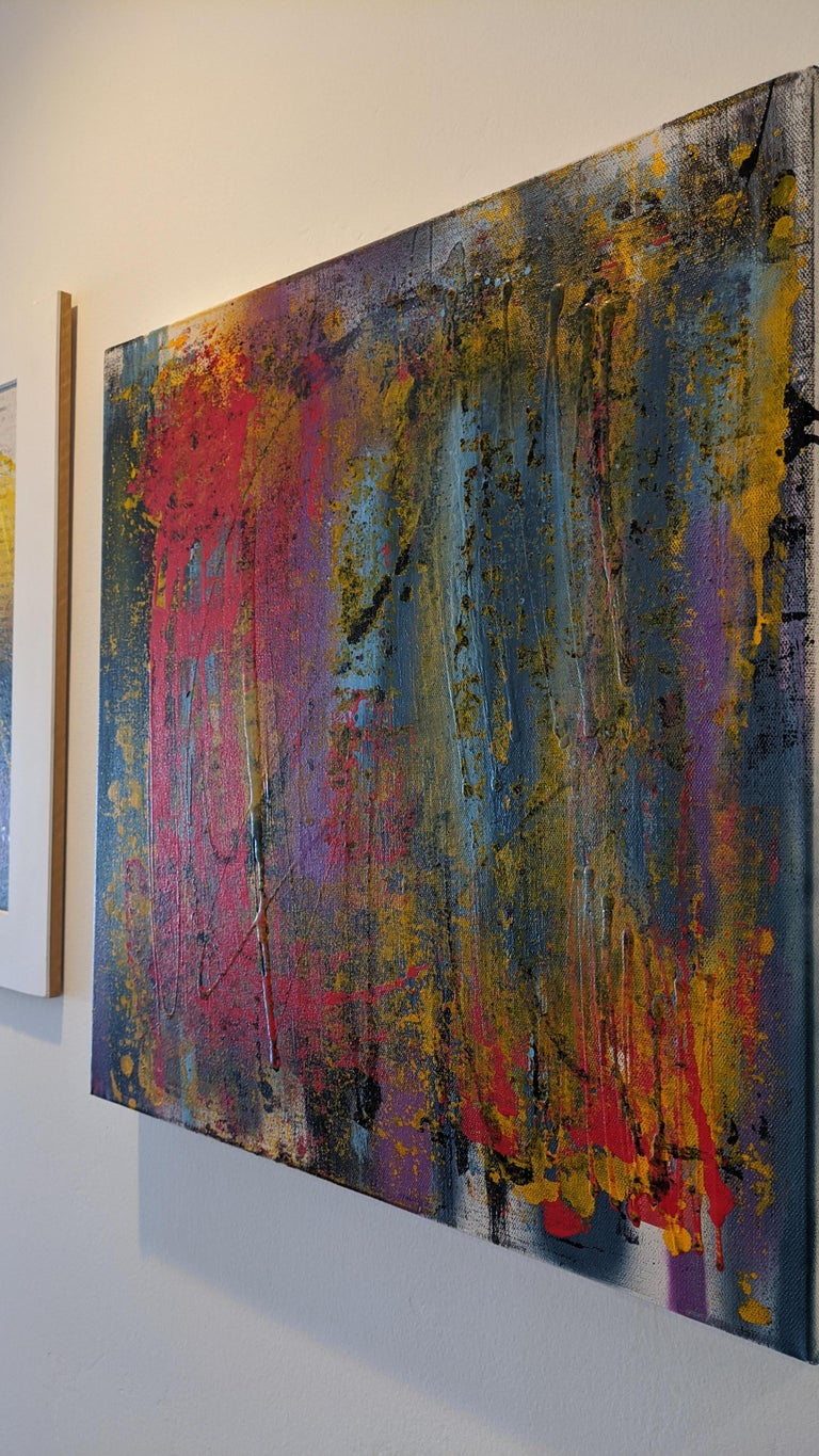 Abstract Painting, Gold, Red, Bold Colors, Mixed Media by Kaplan For Sale 3