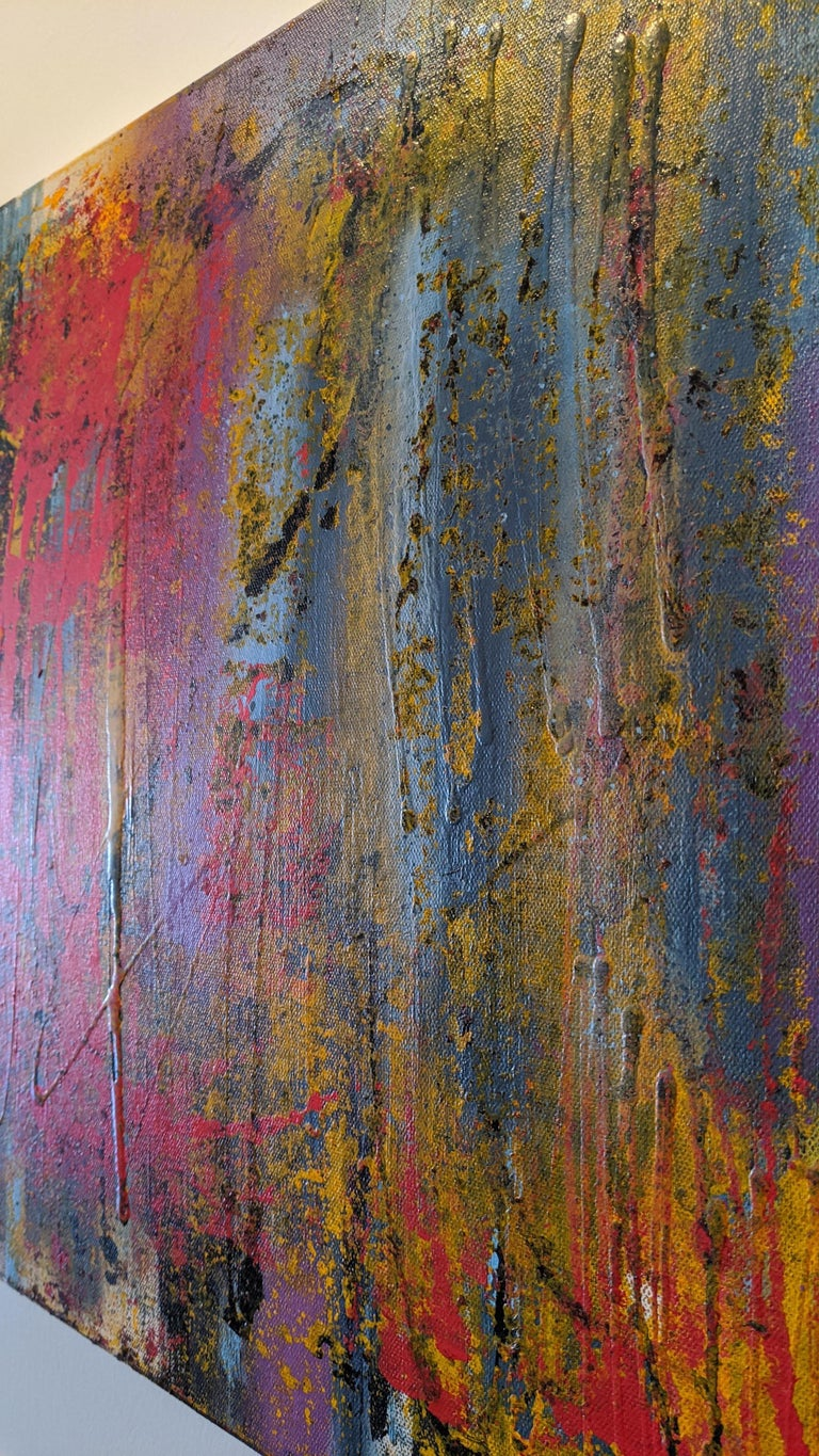 Abstract Painting, Gold, Red, Bold Colors, Mixed Media by Kaplan For Sale 4