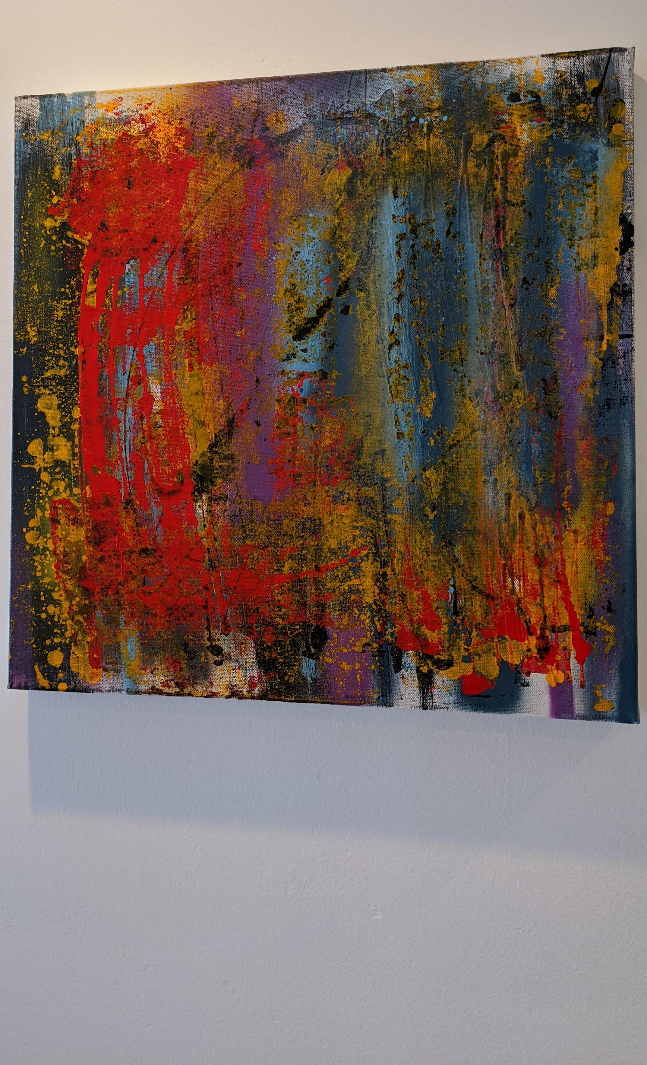 Abstract Painting, Gold, Red, Bold Colors, Mixed Media by Kaplan