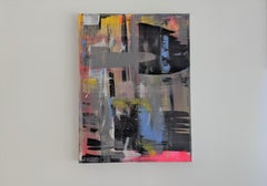 Abstract, Spray Paint, Painting, Blue, Black, Bold Colors, Urban, Mixed Media