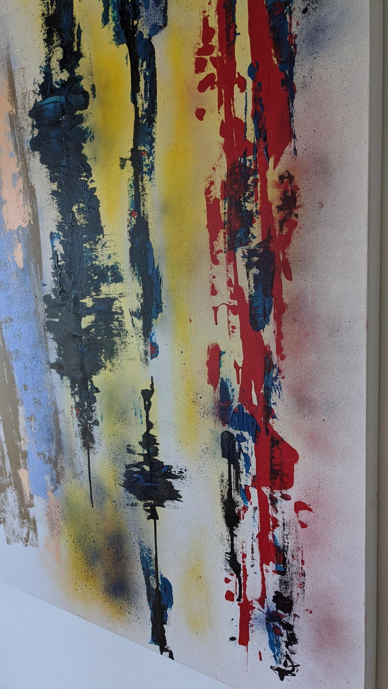 Painting, Abstract, Bold Colors, Lines are Drawn by American Artist Kaplan For Sale 1