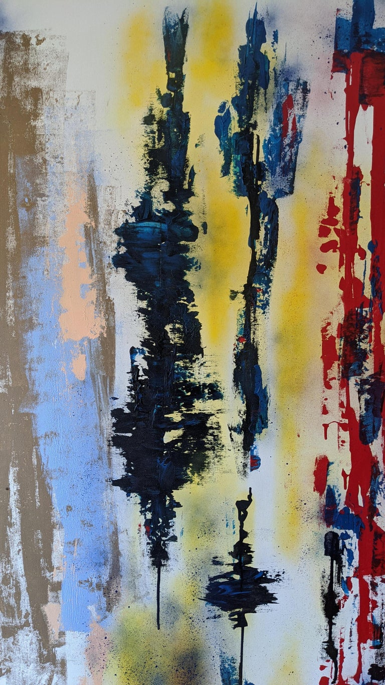 Painting, Abstract, Bold Colors, Lines are Drawn by American Artist Kaplan For Sale 3