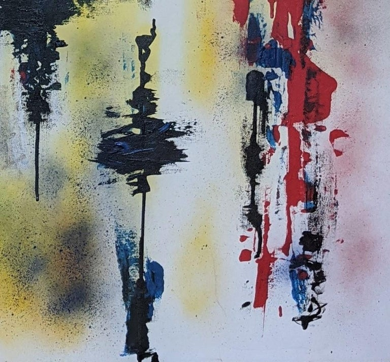 Painting, Abstract, Bold Colors, Lines are Drawn by American Artist Kaplan - Gray Abstract Painting by Paul Kaplan