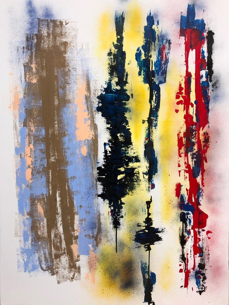 Paul Kaplan Abstract Painting - Painting, Abstract, Bold Colors, Lines are Drawn by American Artist Kaplan