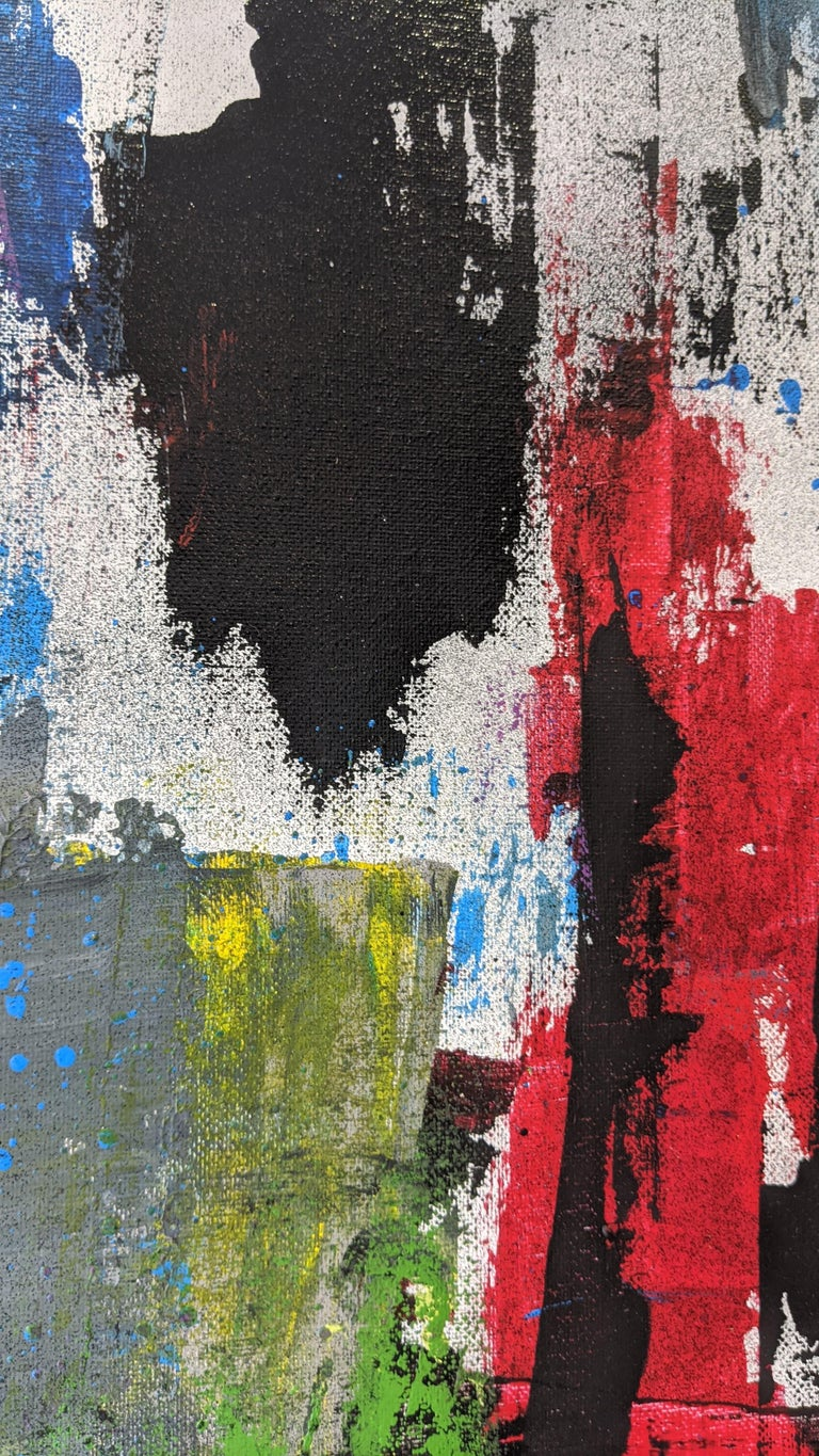 Red, Gold, Blue, Abstract Painting on Canvas, Unframed by Kaplan For Sale 3
