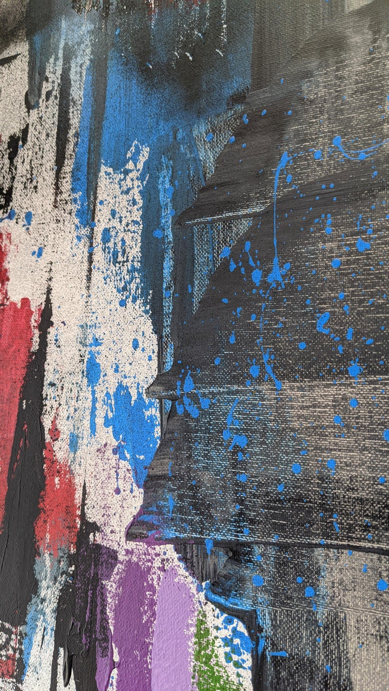 Red, Gold, Blue, Abstract Painting on Canvas, Unframed by Kaplan For Sale 4