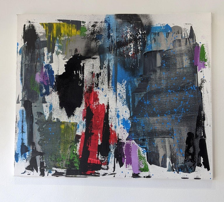 Original painting by artist, Paul Kaplan.  This painting is part of the contemporary movement, artist uses spray paint, acrylic and ink on linen canvas. Artwork is unframed and signed on back of painting.  Paul Kaplan Biography Born in the United
