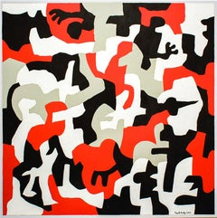 Interlock #52 B (Graphic, Abstract Red, Grey, White & Black Painting on Canvas)
